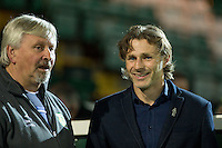 Wycombe Wanderers Manager Gareth Ainsworth chats with Paul Sturrock manager of Yeovil Town during the Sky Bet League 2 match between Yeovil Town and Wycombe Wanderers at Huish Park, Yeovil, England on 24 November 2015. Photo by Andy Rowland.
