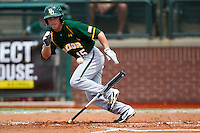 Baylor Bears outfielder Adam Toth #15 heads to first base after laying down a bunt during the NCAA Regional baseball game against Oral Roberts University on June 3, 2012 at Baylor Ball Park in Waco, Texas. Baylor defeated Oral Roberts 5-2. (Andrew Woolley/Four Seam Images).