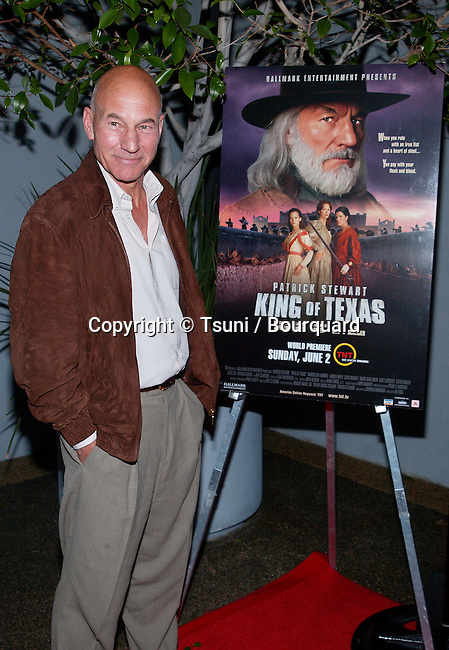 """Patrick Stewart posing at the premiere of """" King of Texas """" at the Harmony Gold Theatre in Los Angeles. May 30, 2002          -            StewartPatrick02.jpg"""