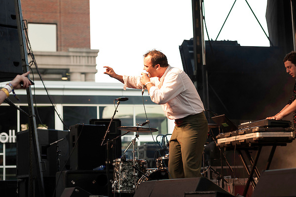 September 6, 2013. Raleigh, North Carolina.<br />  Future Islands at City Plaza.<br /> For the fourth year in a row, bands and fans hit the streets and venues of downtown Raleigh for the HOPSCOTCH music festival.