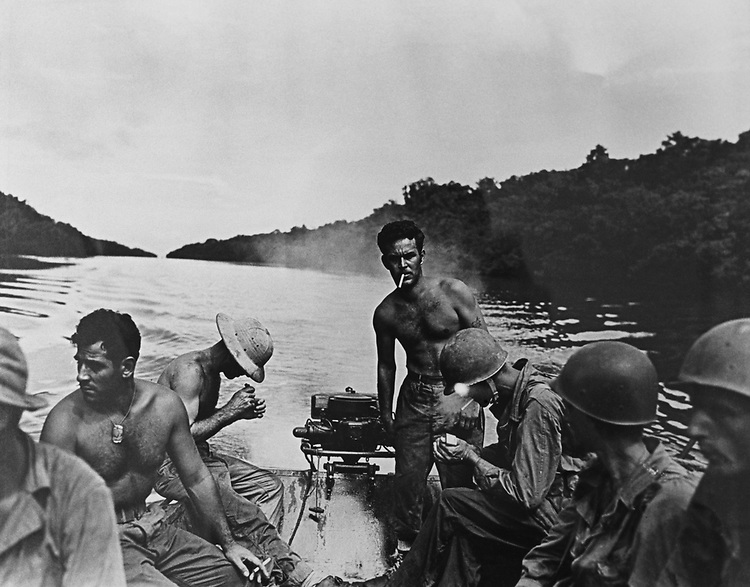 Yank' Army Weekly Soldiers appeared patrolling through Channel amongst Island of Arundel Island, Sagekarsa Islands, in the New Georgia group (Solomon Islands) on Nov. 26, 1943  in the Library of Congress collection. (Photo by CQ Roll Call via Getty Images)