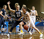 SIOUX FALLS, SD - MARCH 19: Renee Stimpert #4 from Ashland looks to get a step past Rylee Kane #25 from Montana State University Billings during their quarterfinal game at the 2018 Elite Eight Women's NCAA DII Basketball Championship at the Sanford Pentagon in Sioux Falls, SD. (Photo by Dave Eggen/Inertia)