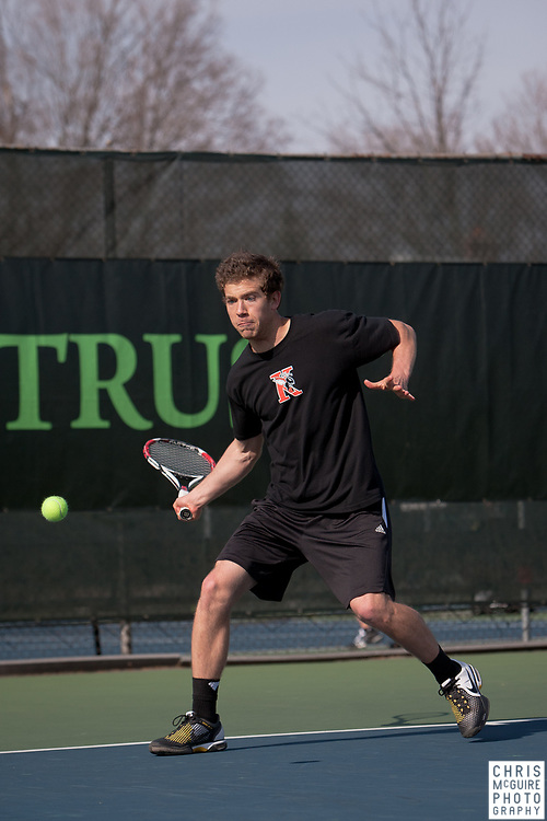 04/21/11 - Kalamazoo, MI:  Kalamazoo College men's tennis vs Trine.  Kalamazoo won the match 9-0.  Photo by Chris McGuire.