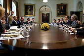 Washington, DC - October 13, 2009 -- United States President Barack Obama participates in a working lunch with President Jose Luis Rodriguez Zapatero of Spain in the Cabinet Room of the White House, October 13, 2009. .Mandatory Credit: Pete Souza - White House via CNP
