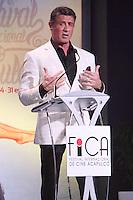 """Acapulco, Guerrero.- 24ene2014 – Forum Mundo Imperial<br /> El actor estadunidense Sylvester Stallone inaugura el Festival Internacional de Cine de Acapulco con su reciente filme """"Ajuste de cuentas"""". El artista desfilo por alfombra roja en compañía de su familia, además recibio la máxima presea, el Jaguar de Plata, que lo distinguió como Amigo de Acapulco.<br /> Photo: Francisco Morales/DAMMPHOTO"""