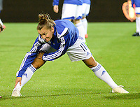 20150922 - LEUVEN ,  BELGIUM : Bosnia and Herzegovina's  Lidija Kulis  pictured during the female soccer game between the Belgian Red Flames and Bosnia and Herzegovina , the first game in the qualification for the European Championship in France 2017  , Thursday 22 September 2015 at Stadion Den Dreef  in Leuven , Belgium. PHOTO DAVID CATRY