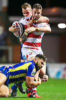 Picture by Alex Whitehead/SWpix.com - 16/03/2017 - Rugby League - Betfred Super League - Leigh Centurions v Warrington Wolves - Leigh Sports Village, Leigh, England - Leigh's Ben Crooks is tackled by Warrington's Ryan Atkins and Kevin Brown.