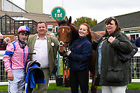 Connections of N over J  in the winners enclosure after winning The Bathwick Car & Van Hire Novice Auction Stakes  during Bathwick Tyres Reduced Admission Race Day at Salisbury Racecourse on 9th October 2017