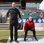 04 April 2015: Ottawa head coach Marc Dos Santos (CAN) (left) with assistant coach Martin Nash (CAN)  (right). The Carolina RailHawks hosted the Ottawa Fury FC at WakeMed Stadium in Cary, North Carolina in a North American Soccer League 2015 Spring Season match. Carolina won the game 3-1.
