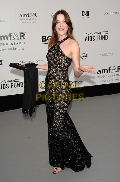 CARLA BRUNI .Arrivals to the Cinema Against AIDS 2007 in aid of amfAR at Le Moulin de Mougins during 60th International Cannes Film Festival, Cannes, France  .May 23rd, 2007.full length black crochet dress hands arms see through thru halterneck .CAP/PL.©Phil Loftus/Capital Pictures