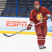 Aaron Schmit (FSU - 5) - The Ferris State University Bulldogs practiced on Friday, April 6, 2012, during the 2012 Frozen Four at the Tampa Bay Times Forum in Tampa, Florida.