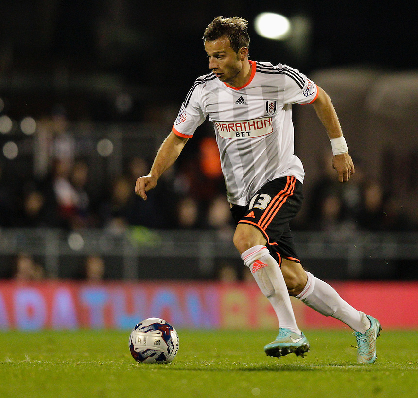 Fulham's Elsad Zverotic in action during todays match  <br /> <br /> Photographer Craig Mercer/CameraSport<br /> <br /> Football - Capital One Cup Fourth Round - Fulham v Derby County - Tuesday 28th October 2014 - Craven Cottage - London<br />  <br /> &copy; CameraSport - 43 Linden Ave. Countesthorpe. Leicester. England. LE8 5PG - Tel: +44 (0) 116 277 4147 - admin@camerasport.com - www.camerasport.com