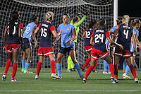 Piscataway, NJ - Saturday July 23, 2016: Joanna Lohman, Erica Skroski during a regular season National Women's Soccer League (NWSL) match between Sky Blue FC and the Washington Spirit at Yurcak Field.