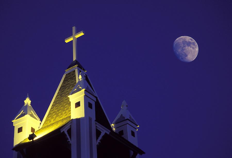 Church steeple at night with full moon, Coupeville, Washington