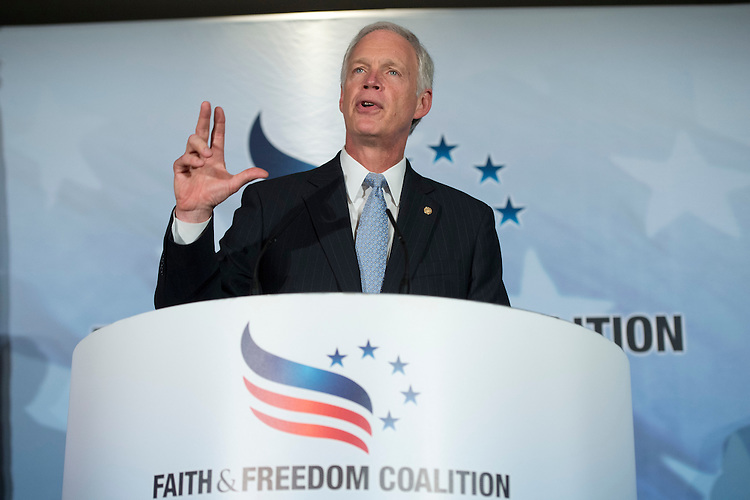 UNITED STATES - JUNE 18: Sen. Ron Johnson, R-Wisc., addresses the Faith & Freedom Coalition's Road to Majority conference which featured speeches by conservative politicians at the Omni Shoreham Hotel, June 18, 2015. (Photo By Tom Williams/CQ Roll Call)
