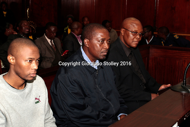 DURBAN - 20 May 2016 - Sitting in the dock of the Durban High Court for the murder of Abahlali baseMjondolo activist Thulisile Maureen Ndlovu are gunman Mlungisi Ndlovu (left), and eThekwini Metro Municipal  councillors Mduduzi Ngcobo (center) and Velile Lutsheko (right). They were convicted Thulisile Maureen Ndlovu's murder and sentenced to life imprisonment. The two councillors from the African National Congress wanted her dead because she opposed their programme of allocating houses to people who were not resident in the Thkoza area of the KwaNdengezi near Pinetown. Picture: Allied Picture Press/APP