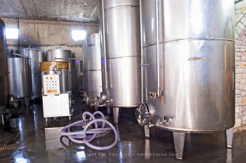 Stainless steel fermentation and storage tanks. Cobo winery, Poshnje, Berat. Albania, Balkan, Europe.