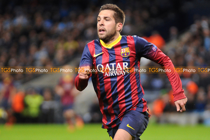 Jordi Alba of Barcelona - Manchester City vs Barcelona - UEFA Champions League First Knockout Round at the Etihad Stadium, Manchester - 18/02/14 - MANDATORY CREDIT: Greig Bertram/TGSPHOTO - Self billing applies where appropriate - 0845 094 6026 - contact@tgsphoto.co.uk - NO UNPAID USE