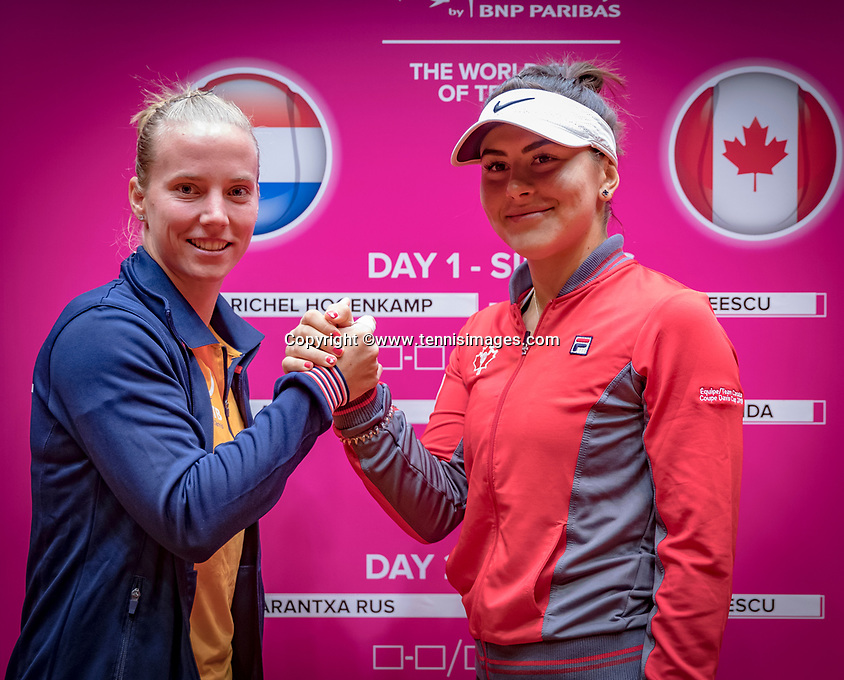 Den Bosch, The Netherlands, Februari 8, 2019,  Maaspoort , FedCup  Netherlands - Canada, Draw,  first match on saturday Richel Hogenkamp for NED (L) vs Bianca Andreescu (CAN)<br /> Photo: Tennisimages/Henk Koster
