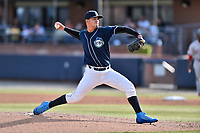 Asheville Tourists starting pitcher Alejandro Requena (15) delivers a pitch during a game against the Greenville Drive at McCormick Field on April 15, 2017 in Asheville, North Carolina. The Tourists defeated the Drive 5-4. (Tony Farlow/Four Seam Images)
