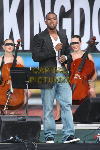 KANYE WEST.Perfoms at Live 8 Philadelphia - A concert to raise awareness for an end to extreme poverty in Africa (Make Poverty History) ahead of the G8 Summit taking place later this week. .Philadelphia Museum of Art, Philadelphia, .Pennsylvania, USA, July 2nd 2005..full length gig makepovertyhistory live8 aid .Ref: IW.www.capitalpictures.com.sales@capitalpictures.com.©Ian Wilson/Capital Pictures.