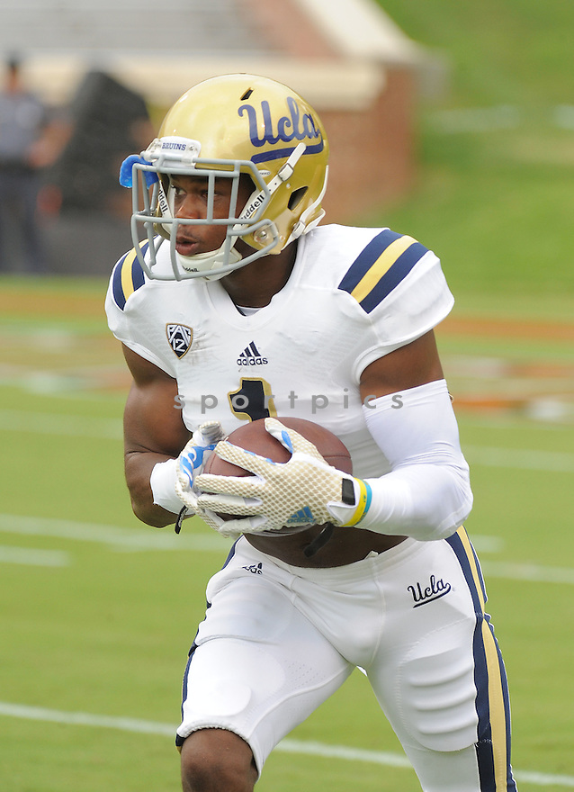 UCLA Bruins Ishmael Adams (1) during a game against the Virginia Cavaliers on August 30, 2014 at Scott Stadium in Charlottesville, VA. UCLA beat Virginia 28-20.