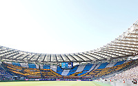 Calcio, Serie A: Lazio vs Roma. Roma, stadio Olimpico, 25 maggio 2015.<br /> Lazio fans wait for the start of the Italian Serie A football match between Lazio and Roma at Rome's Olympic stadium, 25 May 2015.<br /> UPDATE IMAGES PRESS/Riccardo De Luca