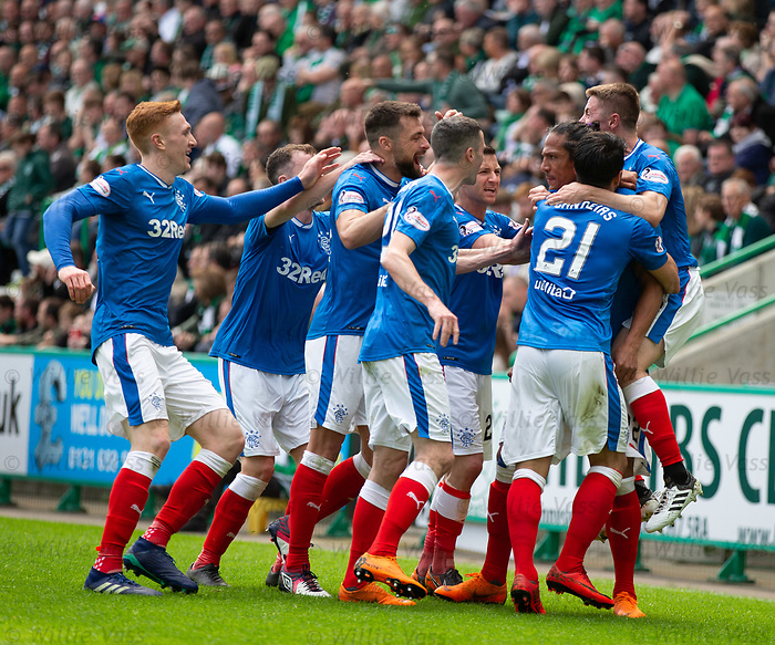 13.05.2018 Hibs v Rangers: Bruno Alves celebrates his equalising goal