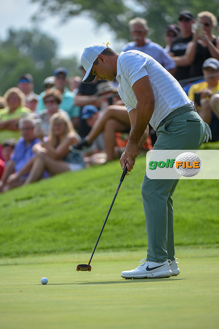 Jason Day (AUS) watches his putt on  on 12 during 1st round of the World Golf Championships - Bridgestone Invitational, at the Firestone Country Club, Akron, Ohio. 8/2/2018.<br /> Picture: Golffile | Ken Murray<br /> <br /> <br /> All photo usage must carry mandatory copyright credit (© Golffile | Ken Murray)