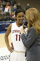 20 March 2006: Candice Wiggins is interviewed by ESPN during Stanford's 88-70 win over Florida State in the second round of the NCAA Women's Basketball championships at the Pepsi Center in Denver, CO.