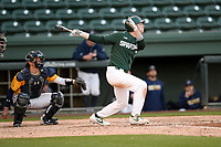 Center fielder Bryce Kelley (17) of the Michigan State Spartans bats in a game against the Merrimack Warriors on Saturday, February 22, 2020, at Fluor Field at the West End in Greenville, South Carolina. The Merrimack catcher is Wyatt Villella (17). Merrimack won, 7-5. (Tom Priddy/Four Seam Images)