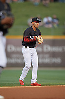 Birmingham Barons shortstop Laz Rivera (5) during a Southern League game against the Chattanooga Lookouts on May 2, 2019 at Regions Field in Birmingham, Alabama.  Birmingham defeated Chattanooga 4-2.  (Mike Janes/Four Seam Images)