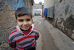 A boy in the Nuseirat refugee camp in the middle of the Gaza strip. .