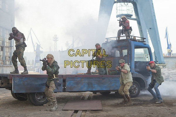 Wesley Snipes, Dolph Lundgren, Randy Couture, Sylvester Stallone, Terry Crews, Jason Statham<br /> in The Expendables 3 (2014) <br /> *Filmstill - Editorial Use Only*<br /> CAP/NFS<br /> Image supplied by Capital Pictures