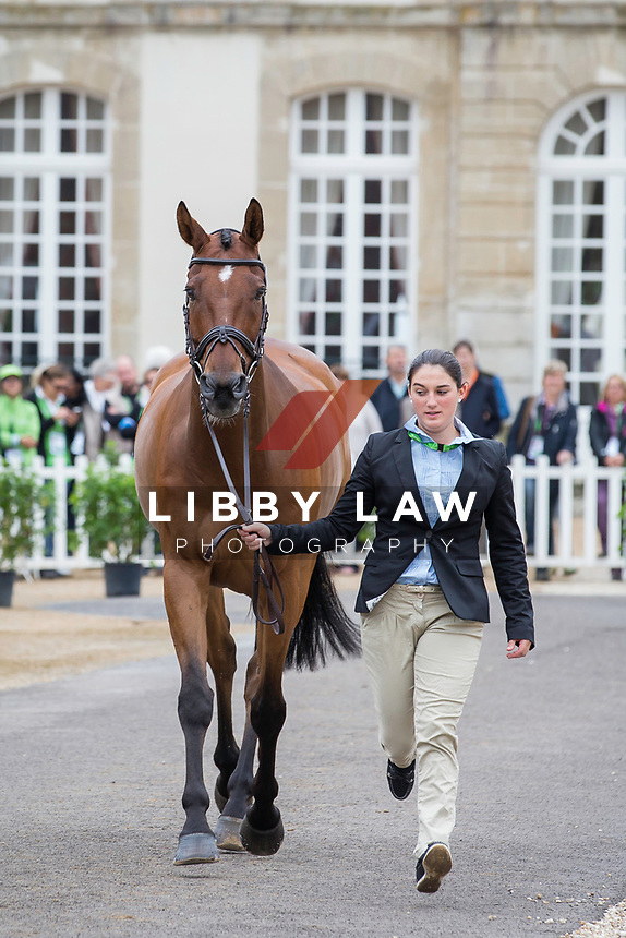 SUI-Eveline Bodenmüller (JIVA LA BRASSERIE) FIRST HORSE INSPECTION: EVENTING: The Alltech FEI World Equestrian Games 2014 In Normandy - France (Wednesday 27 August) CREDIT: Libby Law COPYRIGHT: LIBBY LAW PHOTOGRAPHY - NZL
