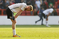 Oli McBurnie of Swansea City stands dejected after the final whistle during the Sky Bet Championship match between Nottingham Forest and Swansea City at City Ground, Nottingham, England, UK. Saturday 30 March 2019