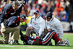 11 October 2009: Buffalo Bills' linebacker Marcus Buggs is tended to on the field after suffering a leg injury during a game against the Cleveland Browns at Ralph Wilson Stadium in Orchard Park, New York. The Browns defeated the Bills 6-3 for Cleveland's first win of the season...Mandatory Photo Credit: Ed Wolfstein Photo
