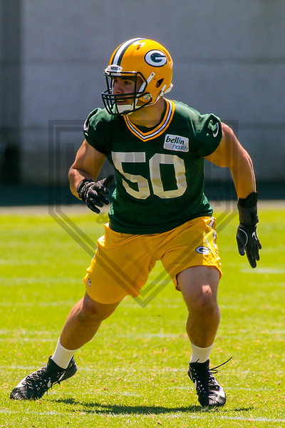 Green Bay Packers linebacker Blake Martinez (50) during an OTA on June 6, 2017 at Clarke Hinkle Field in Green Bay, Wisconsin. (Brad Krause/Krause Sports Photography)