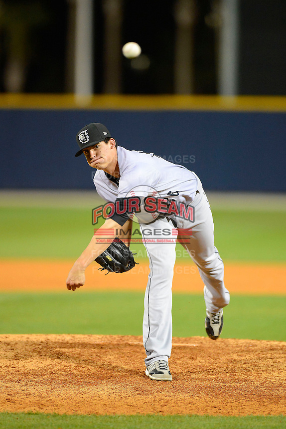 Jacksonville Suns pitcher Edgar Olmos #26 during a game against the Pensacola Blue Wahoos on April 15, 2013 at Pensacola Bayfront Stadium in Pensacola, Florida.  Jacksonville defeated Pensacola 1-0 in 11 innings.  (Mike Janes/Four Seam Images)