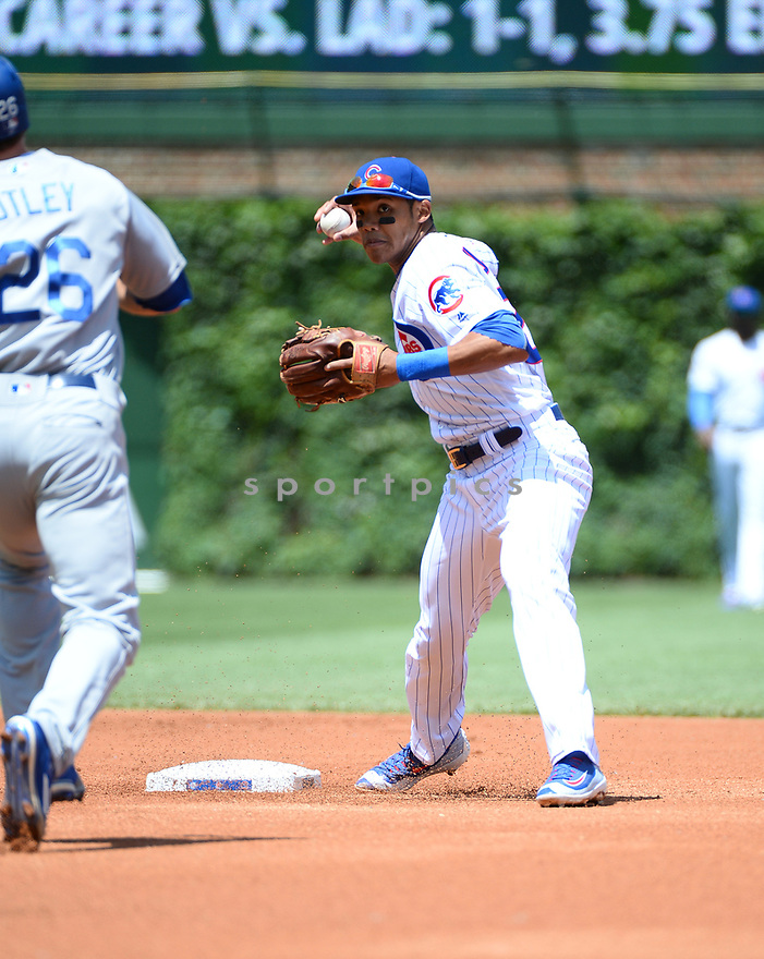 Chicago Cubs Addison Russell (27) during a game against the Los Angeles Dodgers on June 2, 2016 at Wrigley Field in Chicago, IL. The Cubs beat the Dodgers 7-2.