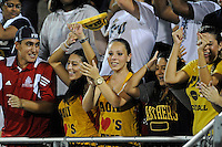 1 September 2011:  Despite rain that came down throughout the first half, FIU's fans dance in celebration of their team winning as the FIU Golden Panthers defeated the University of North Texas, 41-16, at University Park Stadium in Miami, Florida.