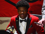 New York, NY - December 10, 2016: Louisville quarterback Lamar Jackson speaks to members of the media during a news conference at the New York Marriott Marquis, December 10, 2016. (Photo by Don Baxter/Media Images International)