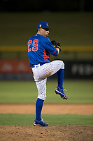 AZL Cubs 2 relief pitcher Nathan Sweeney (48) delivers a pitch during an Arizona League game against the AZL Rangers at Sloan Park on July 7, 2018 in Mesa, Arizona. AZL Rangers defeated AZL Cubs 2 11-2. (Zachary Lucy/Four Seam Images)