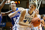 17 November 2012: Duke's Allison Vernerey (FRA) (43) and Presbyterian's Mariah Pietrowski (51). The Duke University Blue Devils played the Presbyterian College Blue Hose at Cameron Indoor Stadium in Durham, North Carolina in an NCAA Division I Women's Basketball game. Duke won the game 84-45.