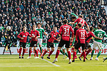 13.04.2019, Weserstadion, Bremen, GER, 1.FBL, Werder Bremen vs SC Freiburg<br /> <br /> DFL REGULATIONS PROHIBIT ANY USE OF PHOTOGRAPHS AS IMAGE SEQUENCES AND/OR QUASI-VIDEO.<br /> <br /> im Bild / picture shows<br /> Tor 2:0, Theodor Gebre Selassie (Werder Bremen #23) k&ouml;pft ein zum 2:0, <br /> <br /> Foto &copy; nordphoto / Ewert