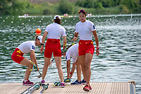 Lucerne, SWITZERLAND, 12th July 2018, Friday  FISA World Cup series, No.3, Lake Rotsee, Lucerne,  CHN W4X, placing sculls on Pontoon, before boating, Photographer Karon PHILLIPS