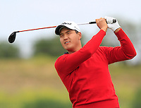 Sihwan Kim (USA) on the 1st tee during Round 1 of the Challenge de Madrid, a Challenge  Tour event in El Encin Golf Club, Madrid on Wednesday 22nd April 2015.<br /> Picture:  Thos Caffrey / www.golffile.ie