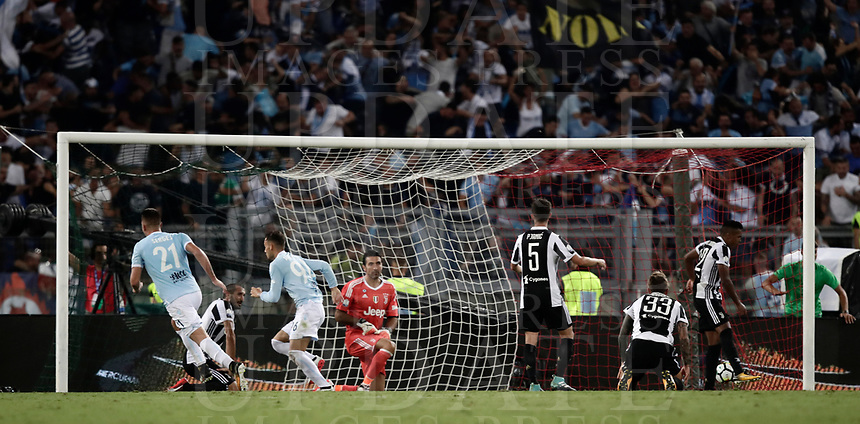 Calcio, Football - Juventus vs Lazio Italian Super Cup Final  <br /> Lazio's Alessandro Murgia celebrates after scoring during the Italian Super Cup Final football match between Juventus and Lazio at Rome's Olympic stadium, on August 13, 2017.<br /> UPDATE IMAGES PRESS/Isabella Bonotto