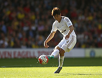 Ki Sung-yueng of Swansea   during the Barclays Premier League match Watford and Swansea   played at Vicarage Road Stadium , Watford