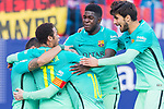 Lionel Andres Messi of FC Barcelona celebrates with teammates Neymar da Silva Santos Junior, Samuel Umtiti and Sergi Roberto Carnicer during their La Liga match between Atletico de Madrid and FC Barcelona at the Santiago Bernabeu Stadium on 26 February 2017 in Madrid, Spain. Photo by Diego Gonzalez Souto / Power Sport Images